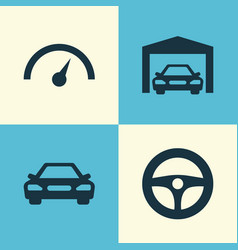 Auto icons set collection of chronometer drive vector