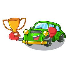 Boxing winner classic car toys in cartoon shape vector