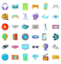 Camera film icons set cartoon style vector