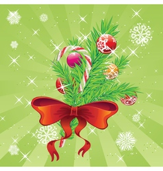 Candy Canes with Bow and Branch3 vector