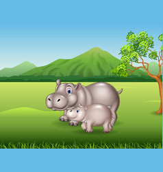 cartoon mother and baby hippo in the jungle vector image