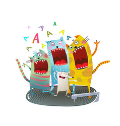 cats singing friends vector image