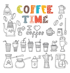 Coffee time doodle set vector
