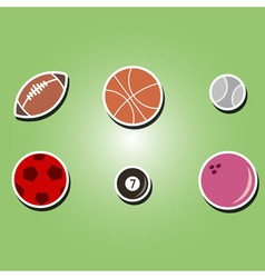 Color icons with sports balls vector