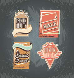 commercial labels retro style vector image