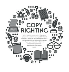 copy righting poster with typewriter and notebooks vector image