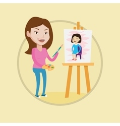 Creative female artist painting portrait vector image