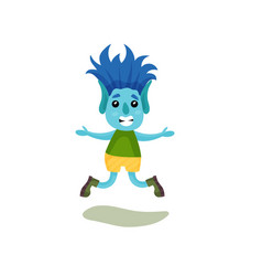Cute smiling boy troll with blue hair and skin vector