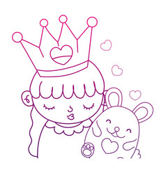 Degraded outline cute girl with crown and nice vector