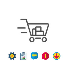 delivery service line icon shopping cart sign vector image