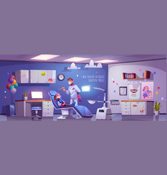 dental room for kids with girl in chair and doctor vector image