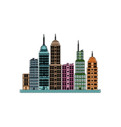 drawing building towers high town image vector image
