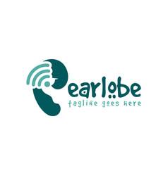 Ear hearing health logo vector