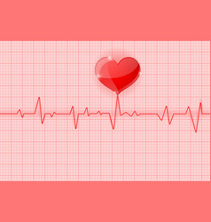 Electrocardiogram red waves with heart symbol vector