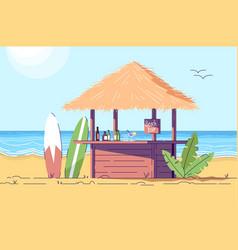 Empty beach bar counter and surfboards flat vector
