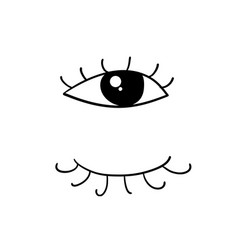 Eyes and eyelashes icon with handdrawn doodle vector