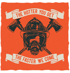 firefighter t-shirt label design vector image
