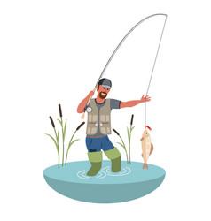 Fishing fisherman with big fish flat vector