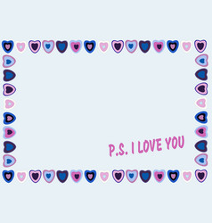frame of hearts on blue background with text ps vector image