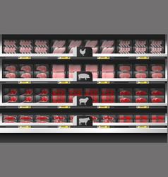 Fresh meat display on shelf in supermarket vector