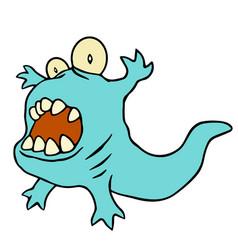 Funny blue dinosaur blue vector