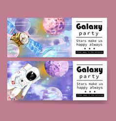 Galaxy banner design with satellite astronaut vector