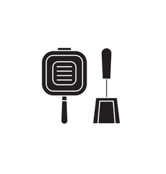 grill pan black concept icon grill pan vector image