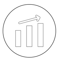 Growth chart the black color icon in circle or vector