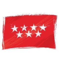 Grunge Community of Madrid flag vector image