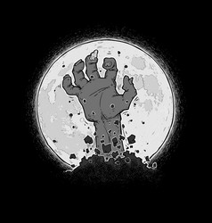 Halloween comic icons - zombie hand braking out vector
