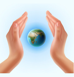 hands with planet vector image