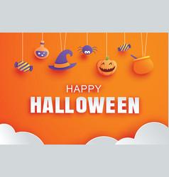 Happy halloween with paper art element design vector