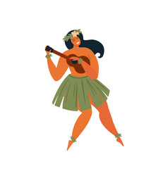 Hawaiian hula dancer young pretty woman vector