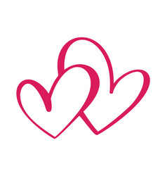 Heart two love sign icon on white background vector