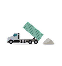 heavy construction tipper with raised container vector image