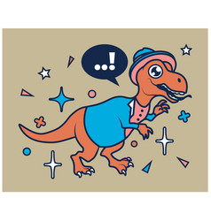 hipster dino cartoon t shirt design vector image