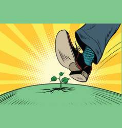 Human foot comes to green sprout ecology and vector