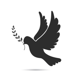 Icon of dove flying with olive twig in its beak vector image