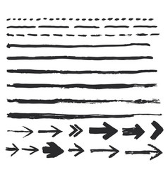 ink brush strokes set paint arrow spots vector image