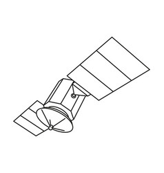 line art black and white communication satellite vector image