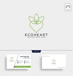 Love eco leaf nature logo template icon element vector