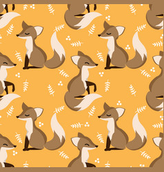 lovely seamless pattern with cute foxes and leaves vector image