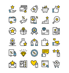 loyalty program line icons vector image