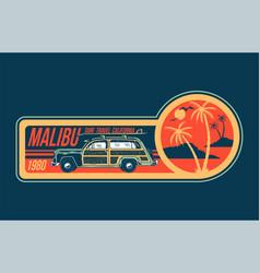 malibu surfing trip print vector image
