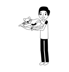 Man holding cat with cushion vector