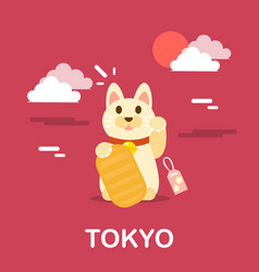 Maneki neko japanese cat doll vector