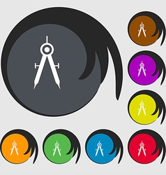 Mathematical Compass sign icon Symbols on eight vector
