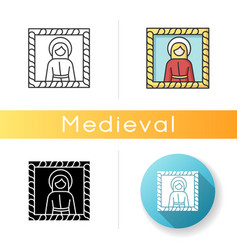 Medieval art style icon vector