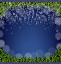 merry xmas card with firtree borders with snow vector image