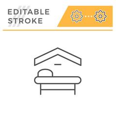 motel editable stroke line icon vector image